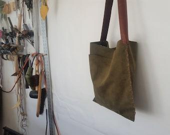 Sage Tote Shoulder Bag, Travel Tote, Shoulder Book Bag, Green Leather Bag, Shoulder Book Bag, Suede Leather Bag,