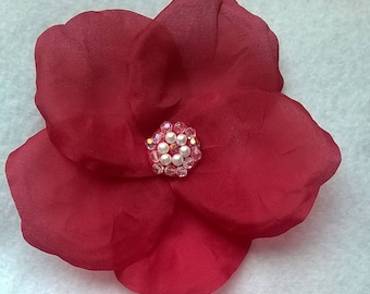 """Dark Pink / Red 100 % Silk Flower Brooch - Handcrafted Heritage 5-Petal  Rose with Swarovski Crystal and Glass Pearl Center - Large, 4"""""""