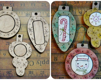 3 Christmas Ornament Embroidery Blanks - wood Frame ornies Craft Supply tree