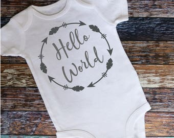Hello World Bodysuit- New Baby Gift- New Baby Announcement- Baby Shower Gift- Welcome Baby Gift