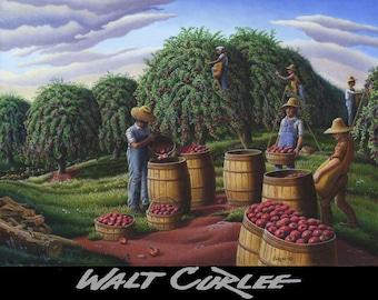 Original Oil Painting, Apple Harvest Painting, Picking Apples, Folk Art, Country Painting, Farm Landscape, Americana Appalachian Walt Curlee