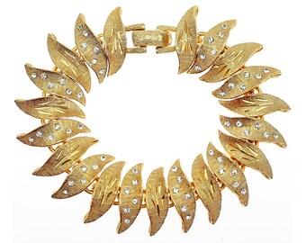 Vintage Rhinestone Bracelet, Mid Century Modern Bracelet, Leaf Bracelet, Leaves, Gold Bracelet, Link Bracelet, Vintage Rhinestone Jewelry