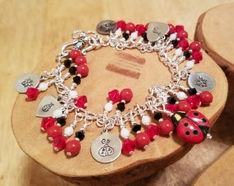Ladybug Lady Bug Swarovski crystal and pearl red black white cha cha charm bracelet ... and it's adjustable too!