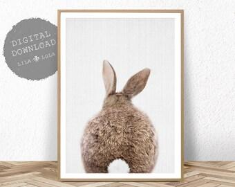 Nursery Decor Rabbit Print, Printable Wall Art, Bunny Tail Poster, Digital Download, Nursery Animal Prints, Bunny Rabbit Tail Wall Art Decor