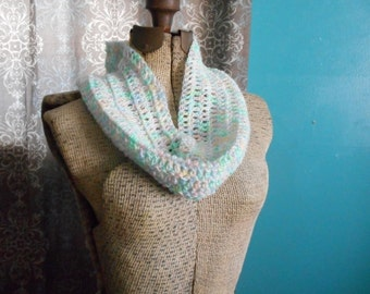 The Baby's Breath Infant to Toddler Sized Neck Cowl Infinity Scarf Wrap. Pastels Boho-Chic. Handmade Crocheted Maybaby© Collection.