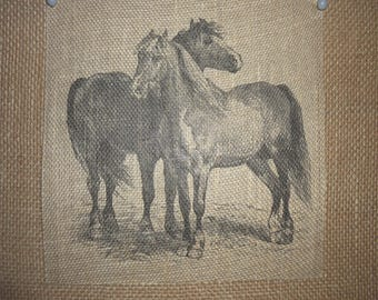 Two Horses Burlap Picture
