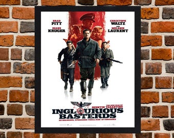Framed Inglourious Basterds Quentin Tarantino & Brad Pitt War Movie / Film Poster A3 Size Mounted In Black Or White Frame (Ref-2)