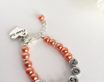 Name Bracelet for Girls, Name Bracelet for Flower Girl, Name Jewellery, Name Charm Bracelet, Bracelet with Kids Names, Bracelet With Name
