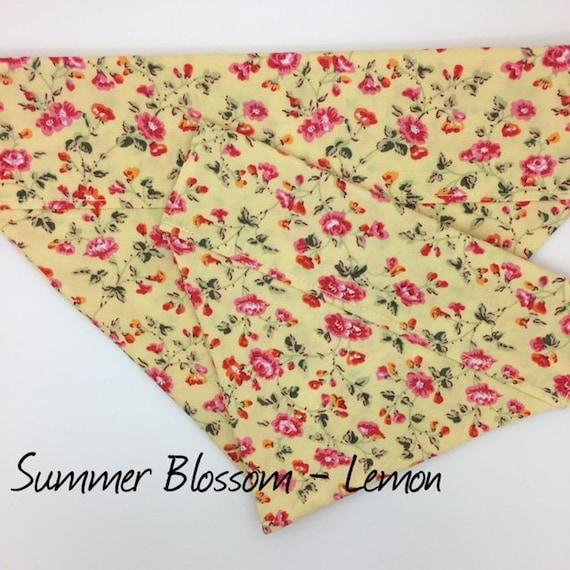 Dog Bandana, Floral Dog Bandana, Summer Blossom Lemon, Pretty Dog Bandana, Dog Bandana UK