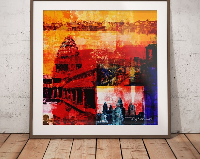 Cambodia Mixed Media XX by Sven Pfrommer - Artwork is ready to hang with a solid wooden frame