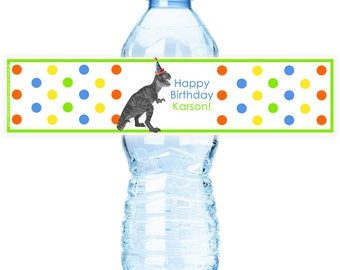 Dino Party Water Bottle Labels