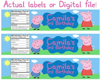 Peppa Pig water bottle labels! personalized with your child's name!