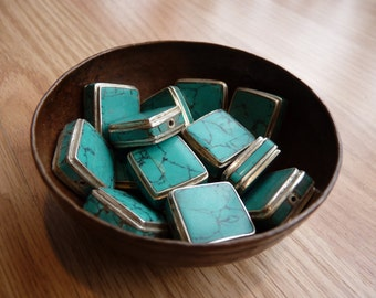 SALE*turquoise set in sterling silver square bead