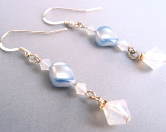 Blue Pearl Earrings, Sky Blue Pearl Earrings, Faux Pearl Earrings, Light Blue Wedding Jewelry, Bridal Jewelry