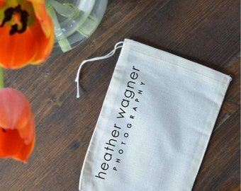 CUSTOM Printed Muslin Bags - Multiple Sizes - Standard Text Layout - Wedding Favors, Gift Bags, Product Packaging