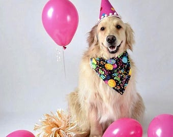 Personalized Birthday Dog Bandana | Reversible Happy Birthday Pet Scarf | Best Custom Bandanas by Three Spoiled Dogs