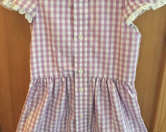 Girls Retro Style Dress/Repurposed Up-cycled Men's Shirt/Lilac white check/Size 4/OOAK