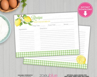 Lemon Recipe Card - Printable Lemon Bridal Shower Recipe Cards - Blank Double Sided Green & Yellow Kitchen Recipes - INSTANT DOWNLOAD