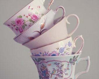 Fine Art Print, Teacup Photograph, Stacked Floral Teacups, Pastel, Whimsical Art, Still Life, Cafe Art, Wonderland, Kitchen Art, Tea Art