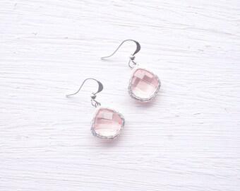 Light Pink Glass Stone Drop Earrings