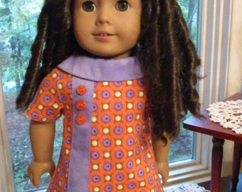 "60's Orange & Purple Doll Dress to fit your 18"" American Girl Doll"