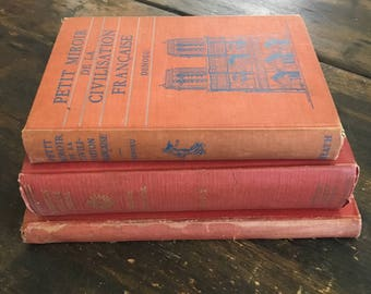 Set of Three (3) Vintage Red French Books / Petit Miroir de la Civilidation Francaise / Three Centuries of French Literature / Comme Il Faut