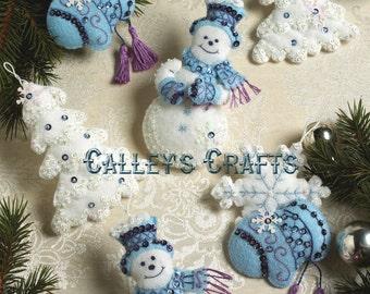 Bucilla Snowflake Snowman ~ Felt Christmas Ornament Kit #86094, 6 Pce, Trees DIY