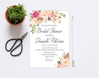 Bridal Shower invitation Editable invite template Printable DIY PDF Floral chic design 5x7 Inches Instant download