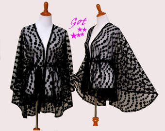 half moon cape, black lace cape, half moon kimono, lace cardigan, lady dress cover up,  classy sheer capes, lace cardigan, black lace kimono