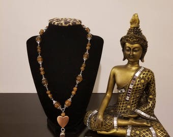 Bronze color necklace with earrings