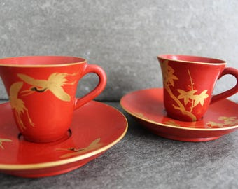 Vintage Japanese Red Laquer Ware With Gold Detail Teacups with Saucers