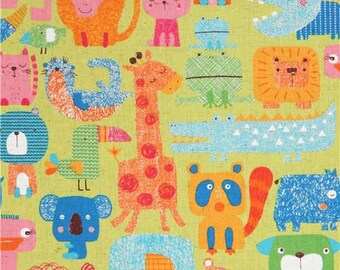219833 animal elephant giraffe lime green Canvas fabric from Japan