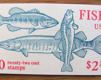 Gone Fishing 10 Vintage UNused US Postage Stamps 22c Booklet Natural History Biology Pond Catfish Cod Save the Date Wedding Postage Man Cave