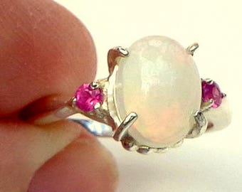 Sz 5.25, Welo Opal Ring,Faceted Pink Sapphire Accents, Natural Gemstone, Sterling Silver, Fine Jewelry, Ethiopian Opal, Color Play Stone