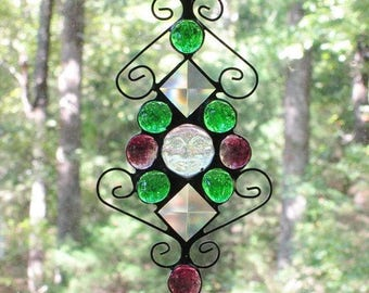 Stained Glass Suncatcher - Clear Iridescent Moonface, Green & Purple Glass Nuggets, Clear Bevels, and Curly Cue Wire (Mardi Gras Look)