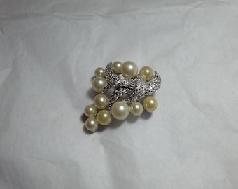 Vintage Crown Trifari Faux Pearl Floral Brooch Silver Metal