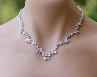 Crystal Bridal Necklace, Crystal Bridal Jewelry, Wedding Necklace, ASHLEY 2
