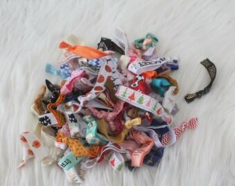 Grab Bag 10 Pack Foe - Hair Ties - Handmade Hair Ties - Knotted Hair Ties - Elastic Hair Ties - Ponytail Holder -
