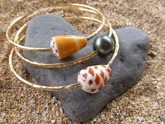 Gold Bangles Tahitian Pearl Hawaiian Shells 3 Hammered