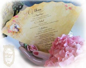 Menu, Invitation, Placecard, Wedding Pierrot Au Claire de la Lune Die Cut Fan Shaped Menus, Invitations or Placecards Set of 6