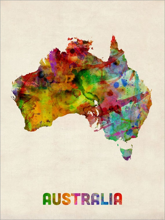 australia watercolor map art print 437