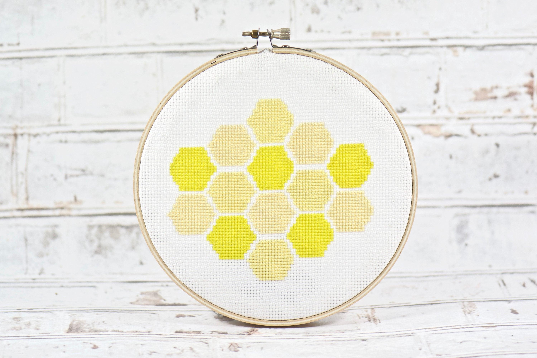 Bee Honeycomb Cross Stitch INSTANT DOWNLOAD Bee Decor