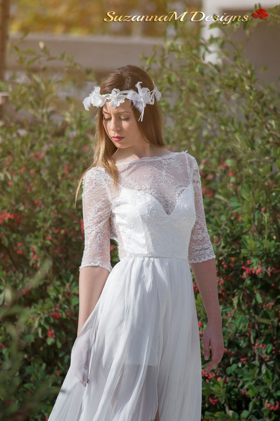 Wedding Dress Chantilly Lace Wedding Dress Airy Silk Chiffon