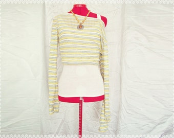 Sweet Summer's End Off Shoulder Cropped Sweater - Sweater Weather Yellow Striped Sweater, Cropped Sweater, Off Shoulder Sweater, Size Small