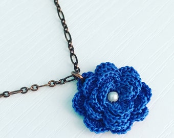 Hyde Park Crochet Necklace in Cobalt Blue, 2nd Anniversary, Crochet Flower, Flower Pendant, Bridesmaid Gift, Gift Under 30, Garden Party