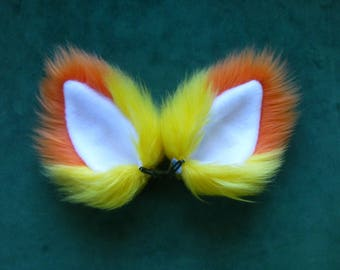 Halloween Candy Corn Orange Yellow and White Faux Fur Cat Ears Costume Cosplay