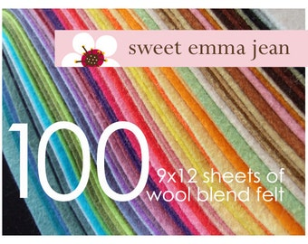 Choose Any One Hundred (100) - Merino Wool Blend Felt Sheets - 9x12 size