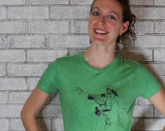 Rollergirl Pinup Tshirt, jammer tshirt, screenprinted, Womens FITTED Shirt, Ladies Tee Shirt, Bright Kelly Green, Roller Derby Graphic Tee,