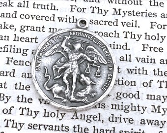 St. Michael the Archangel Medal - Bronze or Sterling Silver - Religious Medal - Catholic Medal  - Saint Medal - Saint Michael (M-1392)