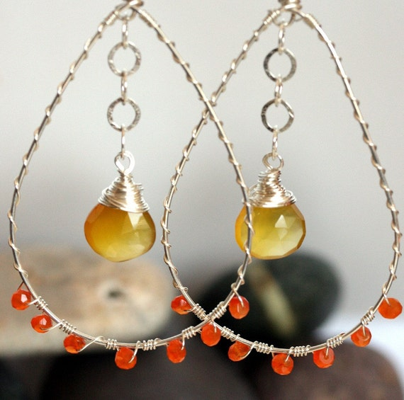 Silver Hoop Earrings - Yellow Chalcedony and Carnelian- Yellow Earrings - Orange Earrings
